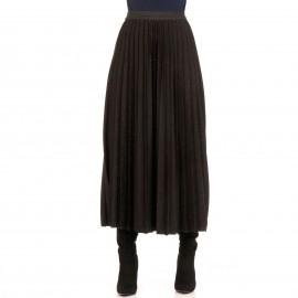 Μαύρη Πλισέ Maxi Φούστα με Glitter