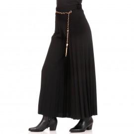 Μαύρη Φαρδιά Πλισέ Παντελόνα με Ζωνάκι Αλυσίδα