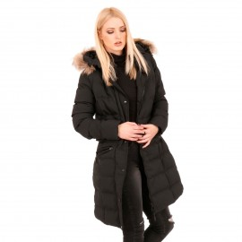 Μαύρο Puffer Jacket με Κουκούλα