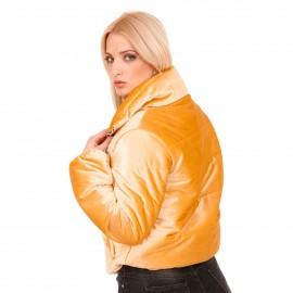 Κίτρινο Βελούδινο Καπιτονέ Bomber Jacket