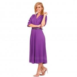Μωβ Midi Φόρεμα με Πλισέ Φούστα και Ζώνη