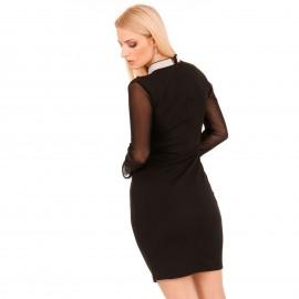 Μαύρο Mini Φόρεμα με Strass και C - Throu Λεπτομέρειες