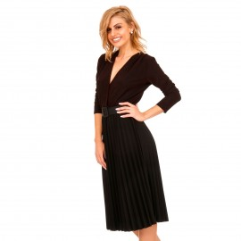 Μαύρο Midi Φόρεμα με Πλισέ Φούστα και Μπορντό Glitter