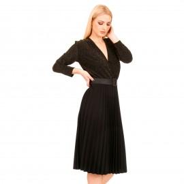 Μαύρο Midi Φόρεμα με Πλισέ Φούστα και Χρυσό Glitter