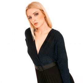 Μαύρο Midi Φόρεμα με Πλισέ Φούστα και Μπλε Glitter