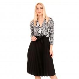 Μαύρο Midi Φόρεμα με Πλισέ Φούστα και Γκρι Snake Print