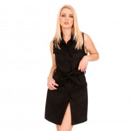 Μαύρο Αμάνικο Σουέτ Mini Φόρεμα με Τσέπες