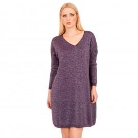 Μώβ Midi Φόρεμα με Glitter
