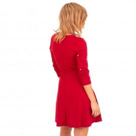 Μπορντό Mini Φόρεμα με Διακοσμητικές Πέρλες