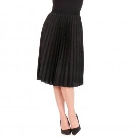 Μαύρη Πλισέ Midi Φούστα με Glitter