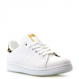 Λευκά Sneakers με Λεοπάρ Λεπτομέρειες