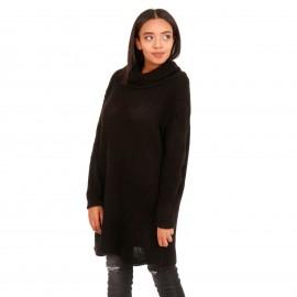 Μαύρο Πλεκτό Μπλουζοφόρεμα Ζιβάγκο