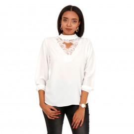 Λευκή Μπλούζα με Δαντέλα