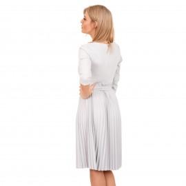 Γκρι Midi Φόρεμα με Πλισέ Φούστα