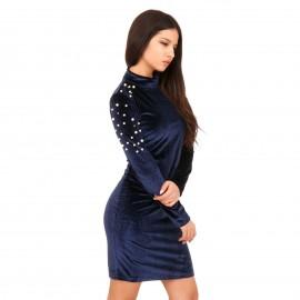 Μπλε Βελούδινο Mini Φόρεμα με Πέρλες