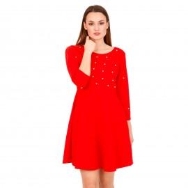 Κόκκινο Mini Φόρεμα με Διακοσμητικές Πέρλες