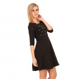 Μαύρο Mini Φόρεμα με Διακοσμητικές Πέρλες