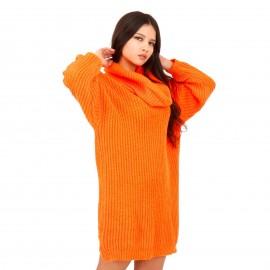 Πορτοκαλί Πλεκτό Μπλουζοφόρεμα Ζιβάγκο