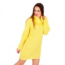 Κίτρινο Πλεκτό Μπλουζοφόρεμα Ζιβάγκο