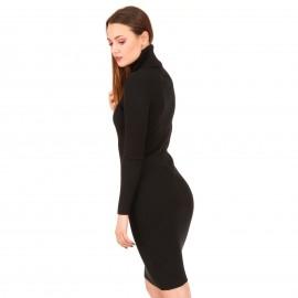 Μαύρο Ripped Mini Φόρεμα Ζιβάγκο