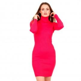 Φούξια Ripped Mini Φόρεμα Ζιβάγκο