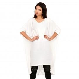 Λευκό Μακρυμάνικο Μπλουζοφόρεμα