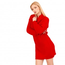 Κόκκινο Πλεκτό Μπλουζοφόρεμα Ζιβάγκο