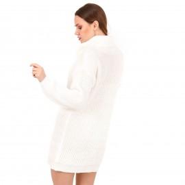 Λευκό Πλεκτό Μπλουζοφόρεμα Ζιβάγκο