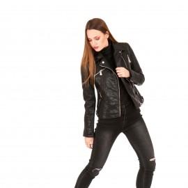 Μαύρο Δερμάτινο Biker Jacket