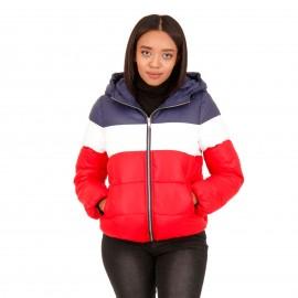 Κόκκινο Puffer Jacket με Κουκούλα