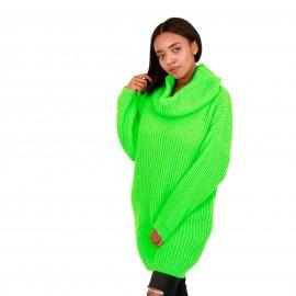 Πράσινο Fluo Πλεκτό Μπλουζοφόρεμα Ζιβάγκο