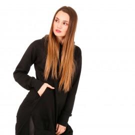 Μαύρο Μακρύ Φούτερ Μπλουζοφόρεμα με Κουκούλα