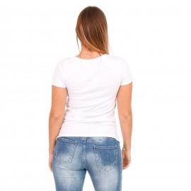 Λευκό T-Shirt με Στάμπα