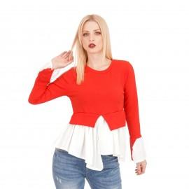 Κόκκινη Ripped Μακρυμάνικη Μπλούζα
