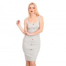 Γκρι Ripped Midi Φόρεμα με Κουμπιά