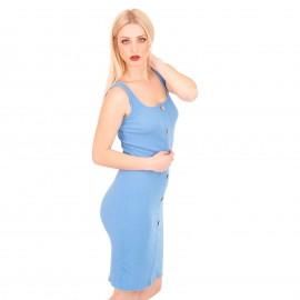 Σιέλ Ripped Midi Φόρεμα με Κουμπιά