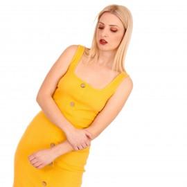 Κίτρινο Ripped Midi Φόρεμα με Κουμπιά