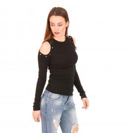 Μαύρη Ripped Off Shoulder Μπλούζα με Μεταλλικές Λεπτομέρειες
