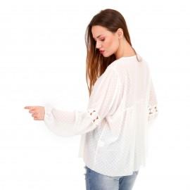 Λευκή Πουά Μπλούζα με C - Throu Λεπτομέρειες