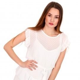 Λευκό Πουά Mini Φόρεμα με C - Throu Λεπτομέρειες και Βολάν