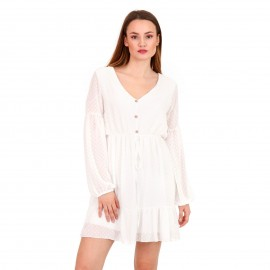 Λευκό Πουά Mini Φόρεμα με C - Throu Λεπτομέρειες και Κουμπιά