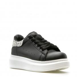 Μαύρα Sneakers με Snake Print