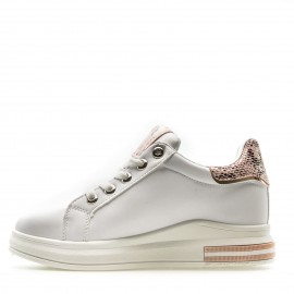 Λευκά Sneakers με Ρόζ Snake Print Λεπτομέρειες