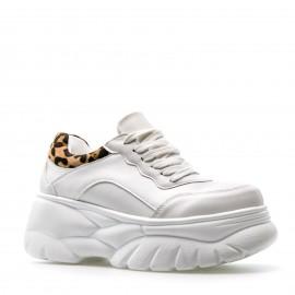 Λευκά Δίπατα Sneakers με Λεοπάρ Λεπτομέρειες