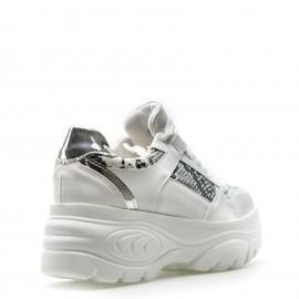 Λευκά Δίπατα Sneakers με Snake Print Λεπτομέρειες