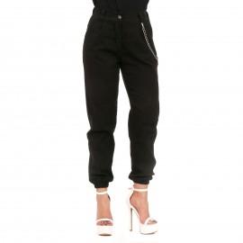 Μαύρο Παντελόνι με Διακοσμητική Αλυσίδα