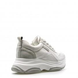 Λευκά Δίπατα Sneakers με Γκρι Λεπτομέρειες