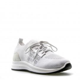 Λευκά Knit Sneakers με Κορδόνια