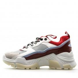 Λευκά Sneakers με Κόκκινες Λεπτομέρειες