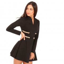 Μαύρο Mini Φόρεμα με Χρυσές Λεπτομέρειες